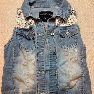 Maurices Denim Vest with Lace Detailing Sz S